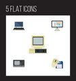 flat icon laptop set of computer mouse vintage vector image vector image