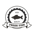 fresh fish logo design with monochrome silhouette vector image