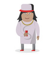 guy in cap with soda cartoon character on vector image