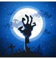 halloween background with zombie hands on full vector image vector image