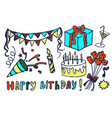 happy birthday set hand drawn vector image vector image