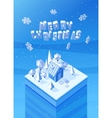 image of the blue wooden christmas house vector image vector image