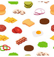 isometric burger ingredients pattern or vector image vector image