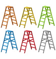 Ladders in six different colors vector image