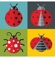 Ladybug icons in flat style on color background vector image vector image