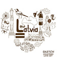 Latvian symbols in heart shape concept vector image vector image