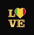 love typography mali flag design gold lettering vector image vector image