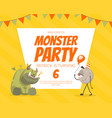 monster party banner template with funny monster vector image vector image