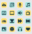 music icons set with megaphone next synchronize vector image