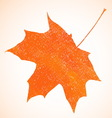 Orange pastel crayon autumn maple leaf background vector image vector image