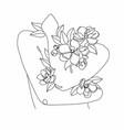 peony woman line art portrait flower head woman vector image