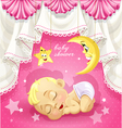 Pink baby shower card with sleeping newborn baby vector image vector image