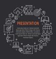 presentation outline icons set for website banner vector image vector image