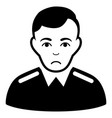 sad officer black icon vector image