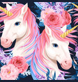 seamless pattern with unicorn and flowers vector image