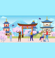 senior people on group sightseeing tour to japan vector image