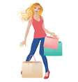 Shopping girl in casual wear vector image