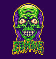 spooky zombie head and text vector image vector image