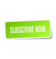 Subscribe now green square sticker on white