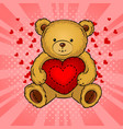 teddy bear toy with heart pop art vector image