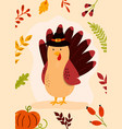 thanksgiving day greeting card with funny turkey vector image vector image