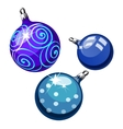 Three blue balls on Christmas tree isolated vector image