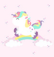 unicorn mini with rainbows in colored pastel vector image
