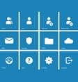 User Account icons on blue background vector image