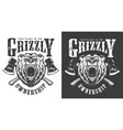 vintage monochrome angry bear head label vector image vector image
