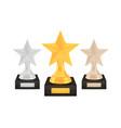 winner star awards set gold silver bronze trophy vector image