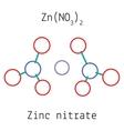 Zinc nitrate ZnN2O6 molecule vector image vector image