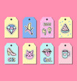 pop art gift tags templates with funny patches vector image
