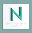 3d abstract style logo with letter n