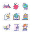 back to school education learn icons set vector image