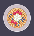 belgian waffles on plate vector image