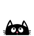 black cat face head silhouette looking up cute vector image vector image