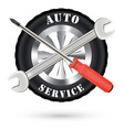 car auto service logo with screwdriver and wrench