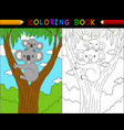 cartoon koala coloring book animals series vector image