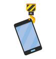 cellphone with crane hook vector image vector image