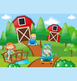 children driving cars in the farm vector image vector image