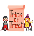 Children in Halloween Costume with Banner vector image vector image