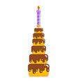 chocolate cake birthday and holiday dessert with vector image