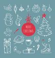 christmas design doodle elements hand vector image