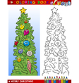 christmas tree for coloring book vector image
