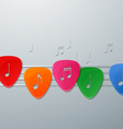 Colorful Guitar Picks with Music Notes vector image