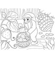 coloring cartoon scene dwarf in the forest vector image vector image