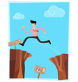 Crossing the cliff vector image