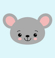 cute cartoon mouse face little kawaii mouse vector image