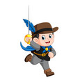 cute musketeer with sword vector image vector image