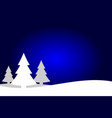 Dark blue and white christmas trees landscape